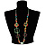 Multicoloured Floral Bead Cotton Cord Long Necklace -  70cm L - view 7