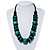 Chunky Beaded Cotton Cord Necklace (Black & Teal) - 64cm L