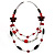 3-Strand Butterfly Cord Necklace (Red, Burgundy, White & Brown) - 90cm - view 4