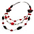 3-Strand Butterfly Cord Necklace (Red, Burgundy, White & Brown) - 90cm - view 5