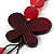 3-Strand Butterfly Cord Necklace (Red, Burgundy, White & Brown) - 90cm - view 8