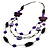 3-Strand Butterfly Cord Necklace (Purple, Lavender, White & Brown) - 90cm - view 3
