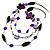 3-Strand Butterfly Cord Necklace (Purple, Lavender, White & Brown) - 90cm - view 4