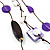 3-Strand Butterfly Cord Necklace (Purple, Lavender, White & Brown) - 90cm - view 8