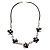 Delicate Shell Floral Leather Cord Necklace - 62cm Length - view 7