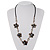 Delicate Shell Floral Leather Cord Necklace - 62cm Length - view 2