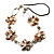 Antique White Shell Floral Leather Cord Long Necklace -78cm Length - view 2