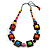Multicoloured Square Wood Bead Cotton Cord Necklace - 74cm - view 3