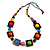 Multicoloured Square Wood Bead Cotton Cord Necklace - 74cm - view 1