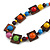 Multicoloured Square Wood Bead Cotton Cord Necklace - 74cm - view 4