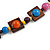 Multicoloured Square Wood Bead Cotton Cord Necklace - 74cm - view 5