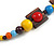 Multicoloured Square Wood Bead Cotton Cord Necklace - 74cm - view 6