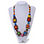 Multicoloured Square Wood Bead Cotton Cord Necklace - 74cm - view 2