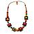 Multicoloured Square Wood Bead Cotton Cord Necklace - 74cm - view 4