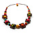 Multicoloured Square Wood Bead Cotton Cord Necklace - 74cm - view 7