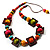 Multicoloured Square Wood Bead Cotton Cord Necklace - 74cm