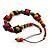 Multicoloured Square Wood Bead Cotton Cord Necklace - 74cm - view 5