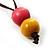 Multicoloured Square Wood Bead Cotton Cord Necklace - 74cm - view 6