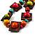 Multicoloured Square Wood Bead Cotton Cord Necklace - 74cm - view 2
