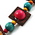 Multicoloured Square Wood Bead Cotton Cord Necklace - 74cm - view 8