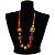 Multicoloured Square Wood Bead Cotton Cord Necklace - 74cm - view 3