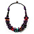Multicoloured Chunky Wood Bead Cotton Cord Necklace - 44cm - view 6