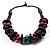 Multicoloured Chunky Wood Bead Cotton Cord Necklace - 44cm - view 7