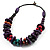Multicoloured Chunky Wood Bead Cotton Cord Necklace - 44cm - view 8