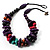 Multicoloured Chunky Wood Bead Cotton Cord Necklace - 44cm
