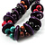 Multicoloured Chunky Wood Bead Cotton Cord Necklace - 44cm - view 4
