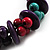 Multicoloured Chunky Wood Bead Cotton Cord Necklace - 44cm - view 5