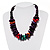 Multicoloured Chunky Wood Bead Cotton Cord Necklace - 44cm - view 3
