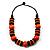 Chunky Beaded Cotton Cord Necklace (Black & Orange) - 64cm L