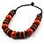 Chunky Beaded Cotton Cord Necklace (Black & Orange) - 64cm L - view 7