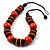 Chunky Beaded Cotton Cord Necklace (Black & Orange) - 64cm L - view 3