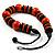 Chunky Beaded Cotton Cord Necklace (Black & Orange) - 64cm L - view 9