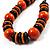 Chunky Beaded Cotton Cord Necklace (Black & Orange) - 64cm L - view 10