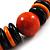 Chunky Beaded Cotton Cord Necklace (Black & Orange) - 64cm L - view 4