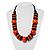 Chunky Beaded Cotton Cord Necklace (Black & Orange) - 64cm L - view 2