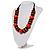 Chunky Beaded Cotton Cord Necklace (Black & Orange) - 64cm L - view 8