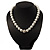 Snow White Glass Imitation Pearl Crystal Choker Necklace (Silver Tone Metal)