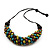 Chunky Olive Green Wood Bead Cotton Cord Necklace - 60cm Length - view 8
