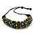Chunky Multicoloured Wood Bead Cotton Cord Necklace - 68cm Length - view 6