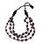 Long Multistrand Purple/Black Wood Bead Cotton Cord Necklace - 80cm Length