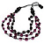 Long Multistrand Purple/Black Wood Bead Cotton Cord Necklace - 80cm Length - view 4