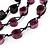 Long Multistrand Purple/Black Wood Bead Cotton Cord Necklace - 80cm Length - view 3