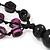 Long Multistrand Purple/Black Wood Bead Cotton Cord Necklace - 80cm Length - view 7