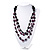 Long Multistrand Purple/Black Wood Bead Cotton Cord Necklace - 80cm Length - view 2