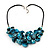 Stunning Teal Blue Shell-Composite Leather Cord Necklace - 50cm Length - view 3
