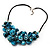 Stunning Teal Blue Shell-Composite Leather Cord Necklace - 50cm Length - view 6